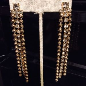 Rhinestones and gold tone fancy earrings